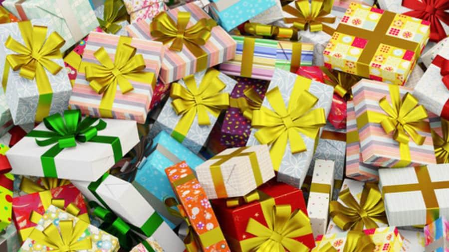 Dużo kolorowych prezentów dla dzieci